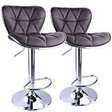 Swivel Bar Stools with Backs Leopard Shell Back Adjustable Swivel Bar Stools,Leather Padded with Back,Set of 2,Brown