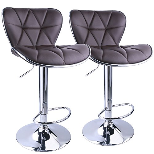 Leopard Shell Back Adjustable Swivel Bar Stools, PU Leather Padded with Back,Set of 2,Brown