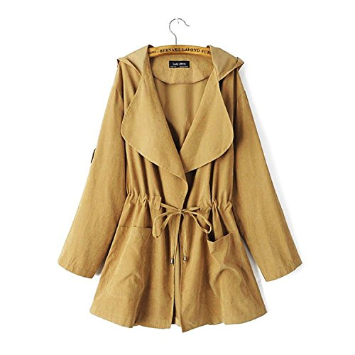 Capucha Jacket Larga con para mujer Chaqueta Coat Marrón Minetom Manga Otoño Abrigo w1ZZOq