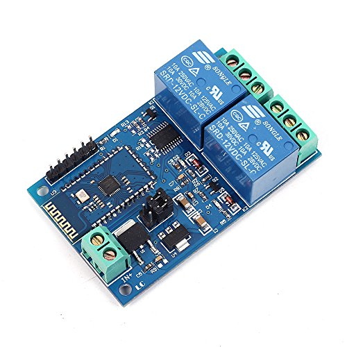 Icstation 12V 2 Channel Bluetooth Relay Module Wireless Remote Control Power Switch for Smart Home IOT