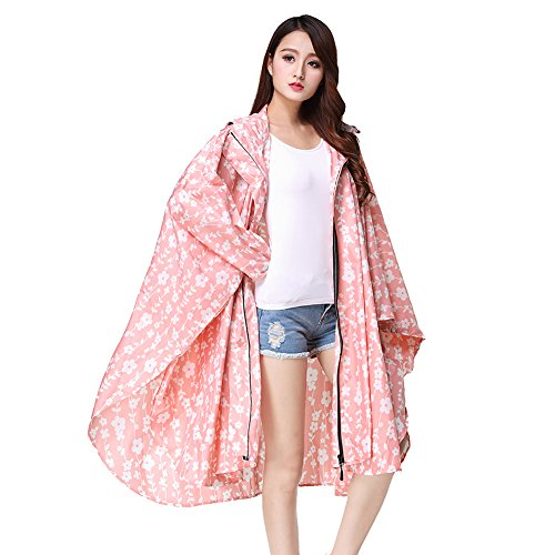 Rain Farming 150 Raincoat Cape Emergency Rain Flower Camping Pink Parks Flower Theme See Mac Waterproof Hoods With Poncho Dot 175cm Through Printed Fishing Hooded Rain Adult Rainwear Reusable for Festivals wFnqStXY