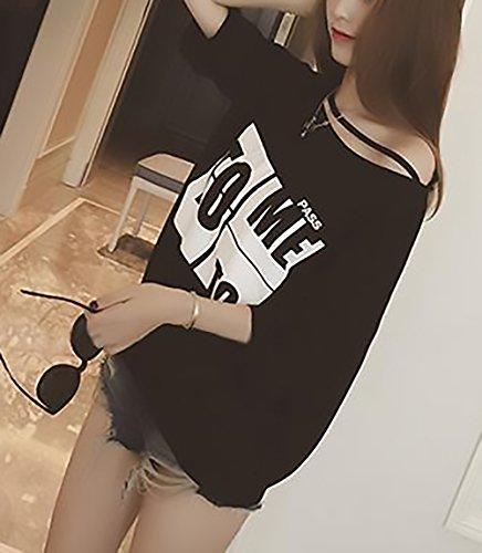 Nero Fashion Stampato Donne Bluse Baggy Camicetta Spalline Digitale Manica Corta Tops Senza Shirt Casuali BoBoLily Eleganti T Shirt Estivi PpnUn