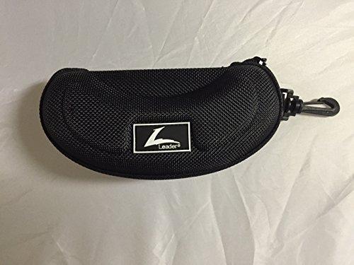 C2 Black Sport Zipper Eyeglass case with clip by Leader