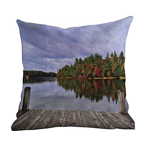 - Matt Flowe Custom Queen Pillowcases,Lake,Wooden Dock and Island Ablaze in Fall Splendor Ludington State Park in Michigan USA,Multicolor,Apply to Travel and naps14 x14