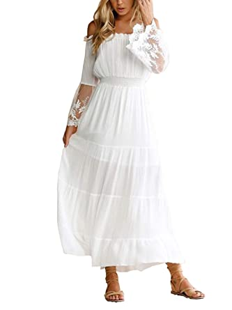 2ac77909db5 Suimiki Women's Sexy Lace Up Long Sleeve Off Shoulder Maxi Dress White  X-Large
