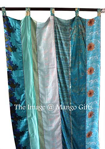 Mango Gifts India Old Sari Multicolor Curtain Door Drape Turquoise