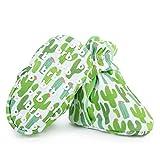 Lightweight Organic Cotton Baby Booties - Grippers, 3 Snaps - No Sock Bootie Newborn Infant Boys & Girls (Cactus, US 2)