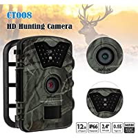 Boblov 12MP 1080P HD Trail & Wildlife Camera IR LED Waterproof Low Glow Scouting Night Vision Outdoor Hunting Cameras with 2.4 inch LCD Screen