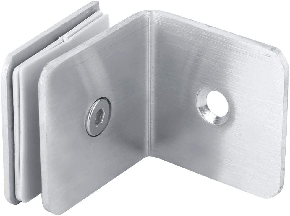 ViaGasaFamido 90 Degree Shower Door Square Fixed Clamp with Large Leg,Glass Door Brackets Support,Shower Doors Partition Hinge Stainless Steel Polished Chrome
