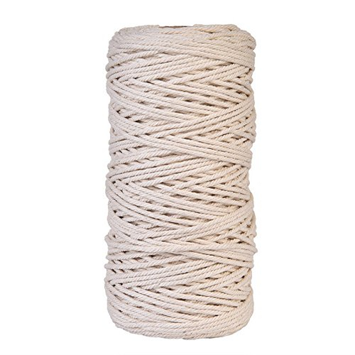 Cotton Macrame Cord Twine String Craft Rope Yarn for Crafts Plant Hanger Wall Hanging Wall Decoration (3 mm x 200 m) by GOLDEN MAPLE
