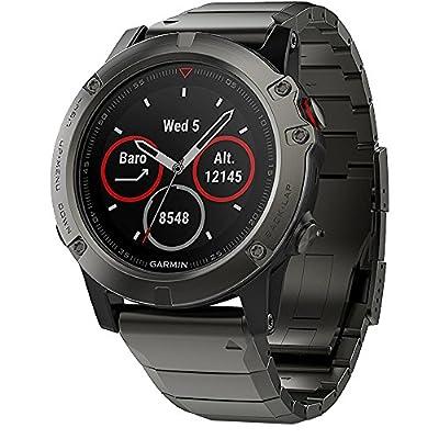 Beach Camera Garmin Fenix 5 Sapphire Multisport 47mm GPS Watch - Slate Gray with Metal Band (010-01688-20) + Silicon Wrist Band for Garmin Fenix 5 + 1 Year Extended Warranty.