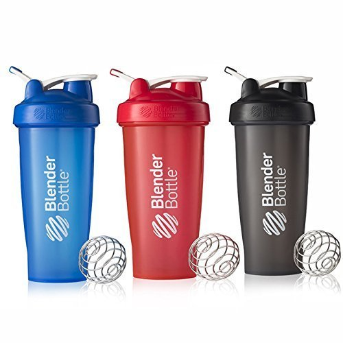 BlenderBottle 28oz Classic Loop Top Shaker Bottle 3-Pack, Full Color Blue/Black/Red