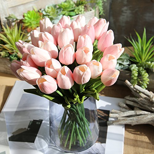 Holland Tulip Artificial Silk Flowers For Home Room Hotel Wedding Party Decor (Light Pink) ()