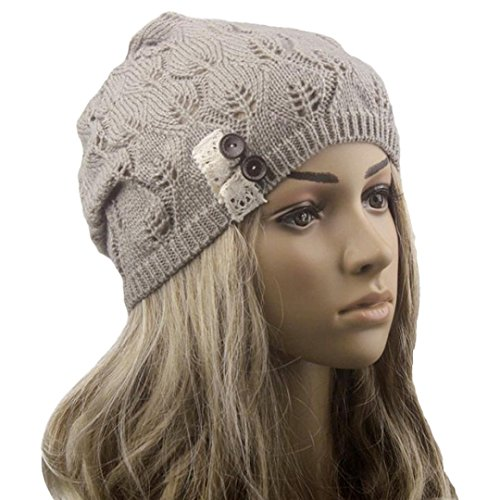 Hat ,BeautyVan Vintage Leaves Hollow Out Knitting Hat (Gray)