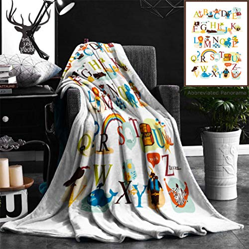 "Nalagoo Unique Custom Flannel Blankets English Pirate Alphabet Super Soft Blanketry for Bed Couch, Throw Blanket 40"" x 60"""