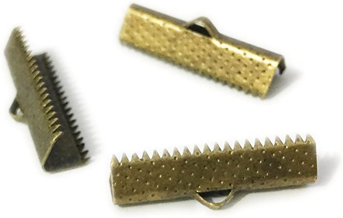 20mm Bronze Plated Ribbon crimps Pack of 20