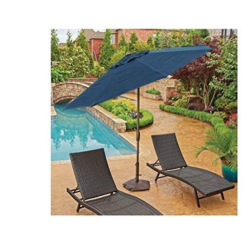 Navy Blue Sunbrella (Members Mark Sunbrella 10 Ft. Patio Market Umbrella With Auto Tilt Navy Blue (Indigo))