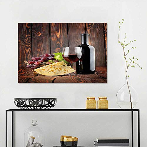 one1love Wine Anti-Fading Oil Painting Cabernet Bottle Cheese On Canvas Abstract Artwork W23 xL15