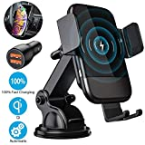 Wireless Car Charger Mount, CTYBB Qi Automatic Clamping Air Vent Dashboard Car Phone Holder & QC 3.0 Car Charger, 10W Compatible for Galaxy S10/S10+/S9.7.5W Fast Charging for iPhone Xs/Xs Max/XR.