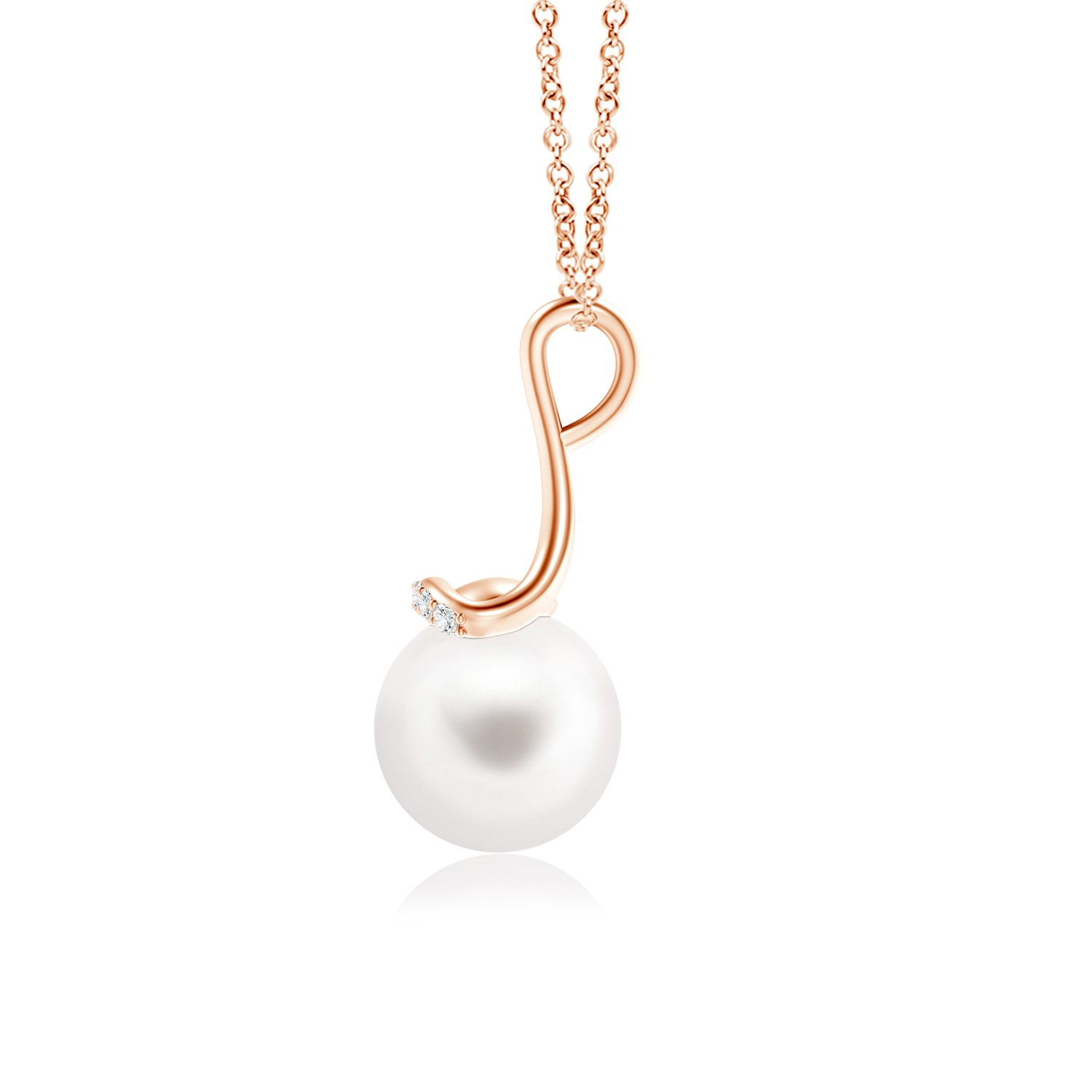 Angara Freshwater Cultured Pearl Long Inverted V-Bale Pendant