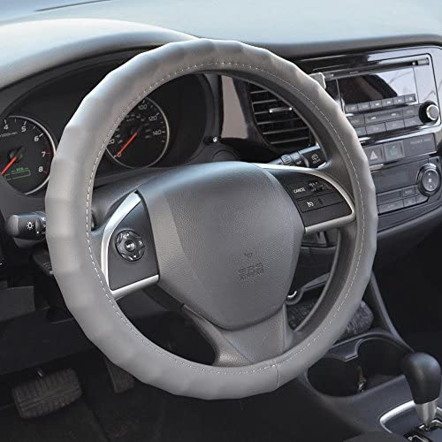 BDK SW-899-MG Leather Car Steering Wheel Cover Standard Size 14.5 to 15.5 Universal Fit Easy Installation Medium Gray