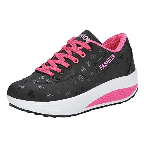 Baskets Femme Chaussures De Marche Chaussures Talon Plate-forme Avec Semelles Épaisses Noir
