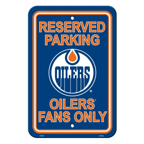 "NHL Edmonton Oilers Reserved Parking Sign, 12"" x 18"""