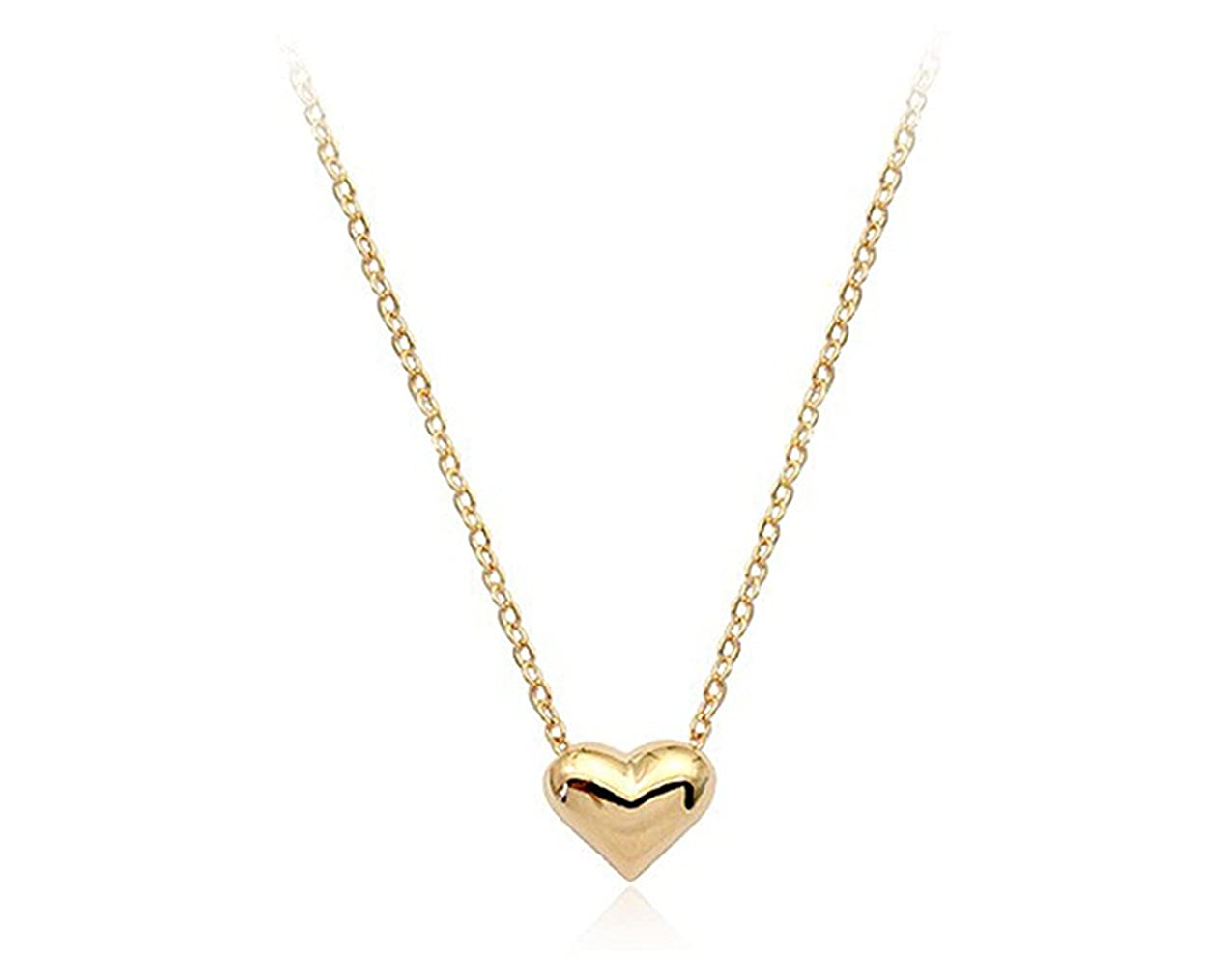 555c5e9656d2 Amazon.com  Rigant Simple Small Smooth Heart Pendant Necklace Fashion  Jewelry for Women (Gold)  Jewelry