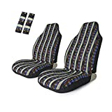 Copap 4pc Universal Baja Bucket Front Seat Cover Stripe Colorful with Seat-Belt Pad Protect for Car, SUV & Truck (2 seat Covers+2 seat Belt Covers)