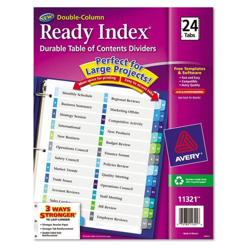 Ready Index Two-Column Table of Contents Divider, Title: 1-24, Multi, Letter, Sold as 24 Each