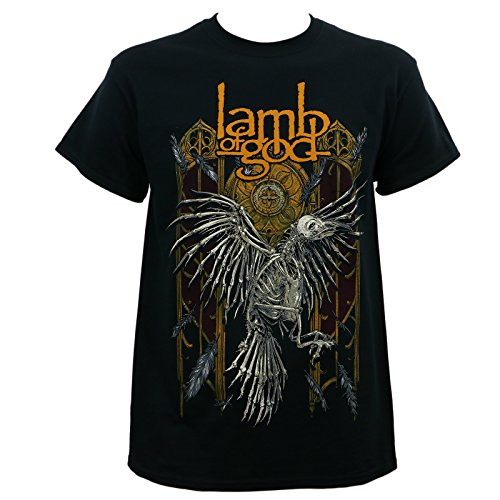LAMB OF GOD Band Crow Skeleton Black T-Shirt L ()