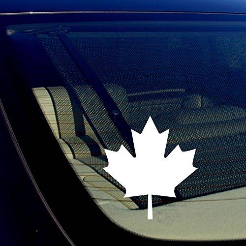 OwnTheAvenue Canadian Maple Leaf Canada Vinyl Flag Window Laptop Bumper Decal Sticker Choose Size & Color (White, 5
