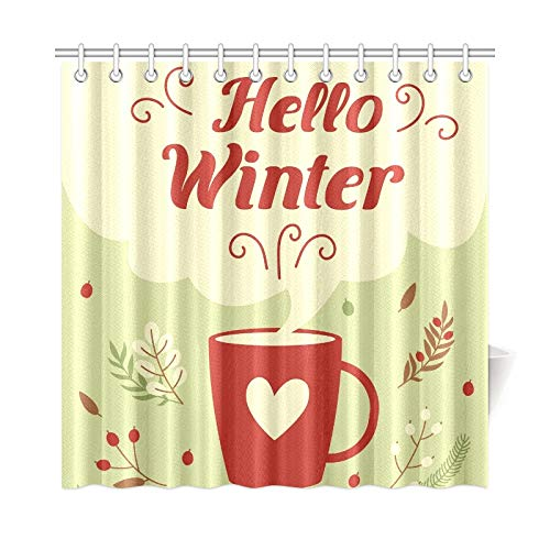 WUTMVING Home Decor Bath Curtain Hello Winter Card Banner Winter Season Polyester Fabric Waterproof Shower Curtain for Bathroom, 72 X 72 Inch Shower Curtains Hooks Included