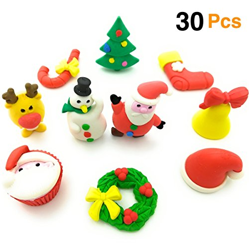 OHill Christmas Erasers 30 Pack 3D Christmas Puzzle Erasers Christmas Novelty Erasers for Kids Christmas Party Favors Supplies