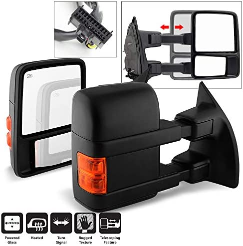 Telescoping Power Heat Smoke LED Signal Towing Mirrors Driver Passenger For 1999-2007 Ford F250 F350 F450 F550 Acanii