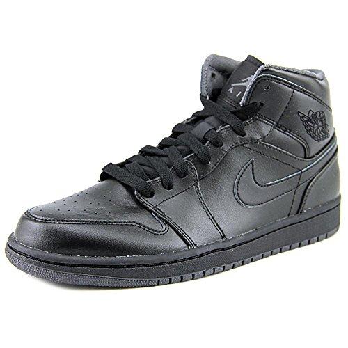 Jordan Retro 1 Mid Men Round Toe Leather Black Basketball Shoe