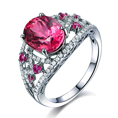 Elegant Fashion Jewelry Solid 14K White Gold Natural Pink Tourmaline Gemstone Diamond Wedding Engagement Bridal Ring Set for (24k Tourmaline Ring)