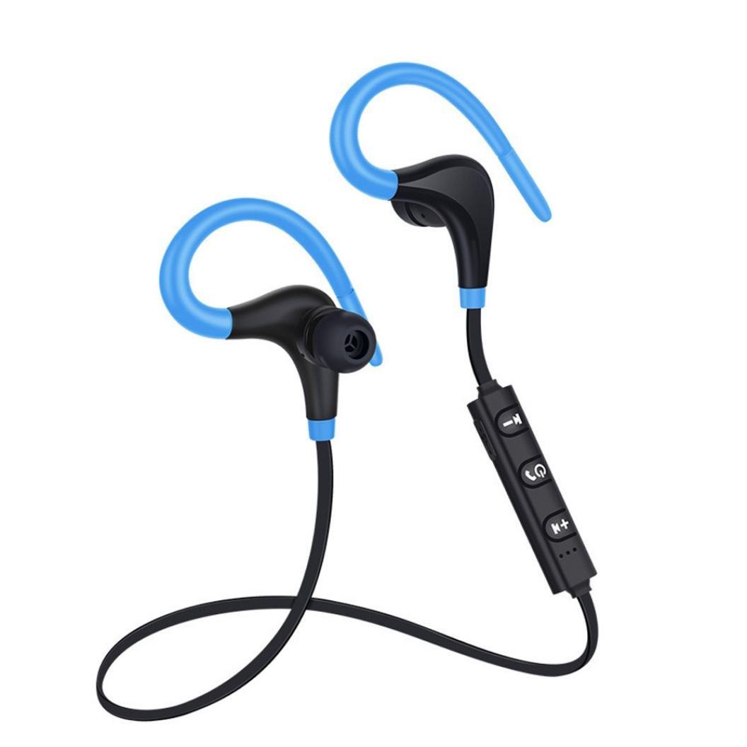 sukeq Earhookヘッドフォン、Bluetooth 4.1防水swearproofイヤホン、ワイヤレスステレオスポーツイヤホンハンズフリーヘッドセット、、CVC 6.0ノイズキャンセルイヤホンマイク付き B07C3RHCRV ブルー ブルー
