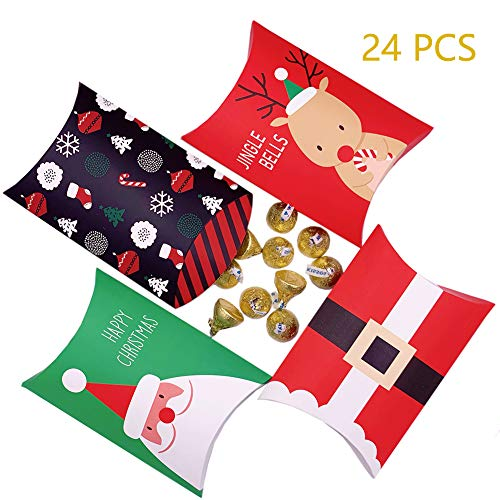 Candy Boxes,24pcs Christmas Gift Boxes Treat Boxes Christmas Party Favor Boxes Cardstock Boxes Santa Party Decoration