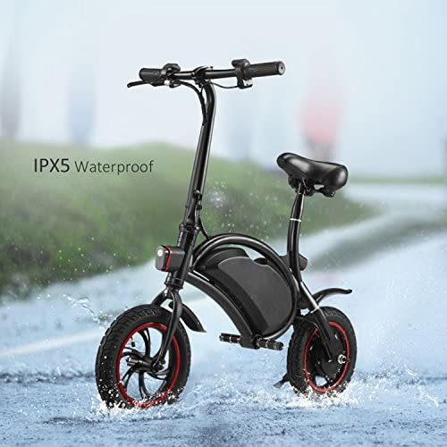 350W Folding Portable Electric Bike with 36V 6AH Lithium-Ion Battery Aluminum Bluetooth Control E-Bike APP Speed Setting Waterproof Electric Bicycle