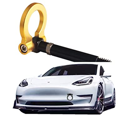 DEWHEL JDM Aluminum Track Racing Front Rear Bumper Car Accessories Auto Trailer Ring Eye Towing Tow Hook Kit Screw On for Tesla Model 3 (Gold): Automotive