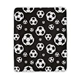 WIHVE Home Decor Blanket Black and White Soccer Ball Throw Lightweight Soft Warm Blankets for Bed Couch Sofa 50 X 60 Inches