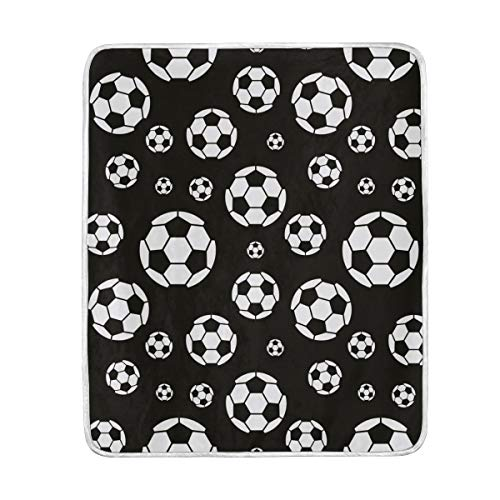 WIHVE Home Decor Blanket Black and White Soccer Ball Throw Lightweight Soft Warm Blankets for Bed Couch Sofa 50 X 60 Inches by WIHVE