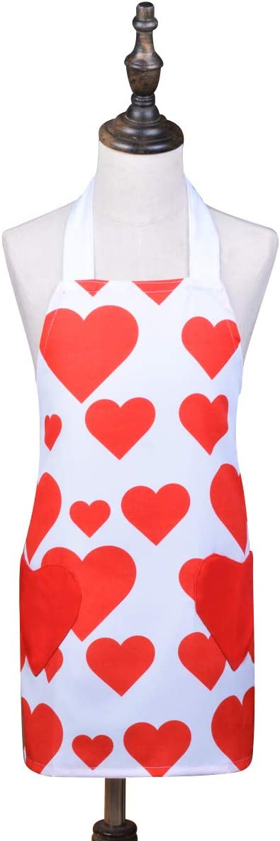 Love Potato Cute Red Adjustable Bib Apron Hearts Canvas Apron Chef Kitchen Cooking Pinafore with Pockets Great Gift for Kids and Daughters