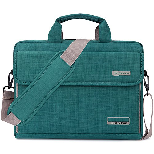 Brinch Unisex Oxford Universal Laptop Sleeve Messenger Shoulder Bag for 15 - 15.6 Inch Laptop (Green)