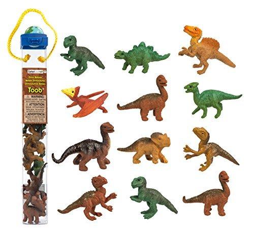 (Safari Ltd Dino Babies TOOB with 10 Dinosaurs Including Baby Pertadon, Allosaurus, Apatosaurus, Triceratops, Brachiosaurus, Stegosaurus, Parasaurolophus, Velociraptor, T-Rex, and Spinosaurus)