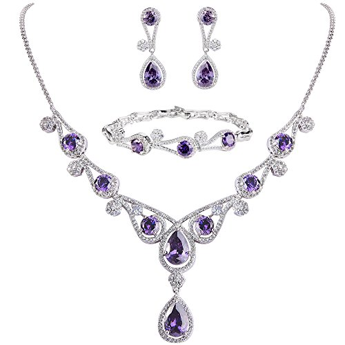 (EVER FAITH Women's Purple CZ Hollow-Out Teardrop Wedding Banquet Necklace Earrings Bracelet Set Silver-Tone)
