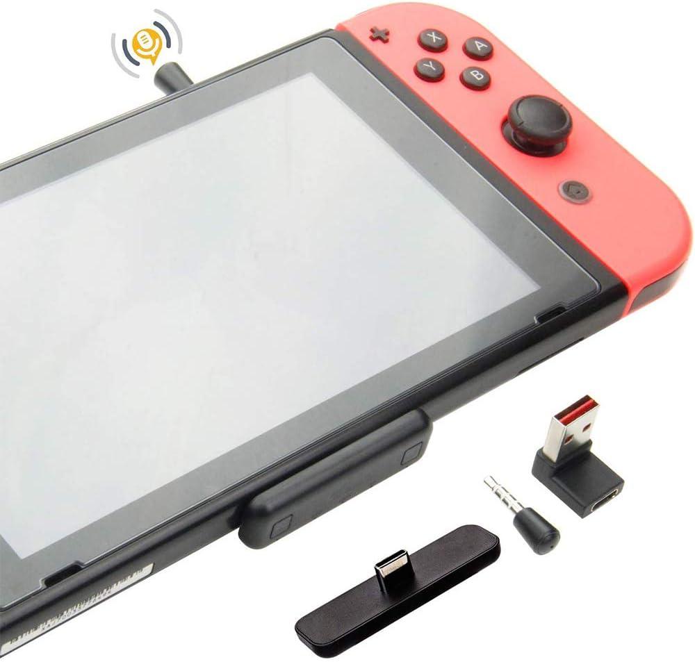 GULIkit Route Air Pro Adaptador de Audio Bluetooth para Nintendo Switch, Switch Lite, PS4, PC, Transmisor con Baja Latencia aptX, Soporte de Chat de Voz en el Juego