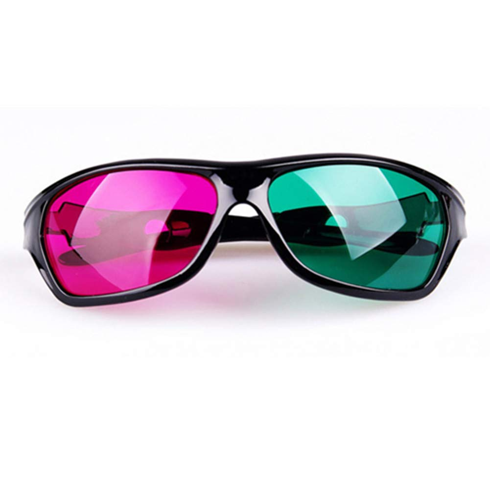 Hard Plastic Green and Magenta Anaglyph 3D Glasses for Movies and Games - Family Packs (4pcs Pack) EAHAWORLD
