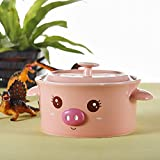 Panbado 15 OZ Porcelain Cute Cartoon Animal Rice Bowl Novelty Ceramic Lovely Serving Soup Bowl with Lid - Pink Pig